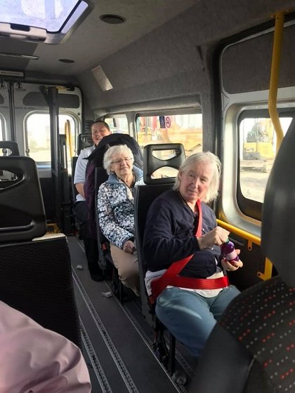 The residents of Cartref Croeso Care Home on the mini bus on a day trip to Aberaeron.