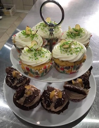 Delicious cakes for afternoon tea at Cartref Croeso Care Home, Pencader, Carmarthenshire