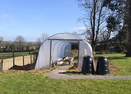 Polytunnel at Cartref Croeso Care Home Pencader Carmarthenshire