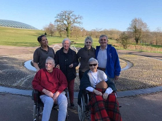 Cartref Croeso Care Home's residents outside the Botanical Gardens