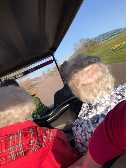Cartref Croeso Care Home's residents on the bus on a day trip to the Botanic Gardens
